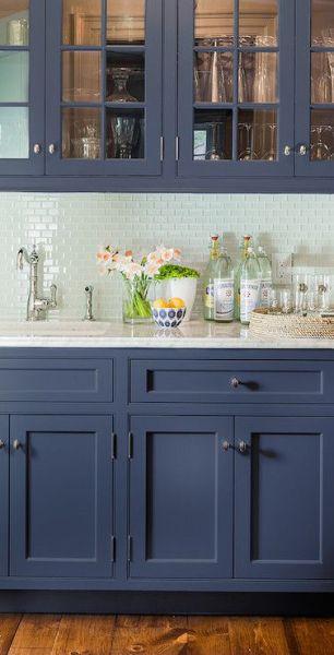 navy blue painted kitchen cabinets Subway tile backsplash, Design and Glasses on Pinterest