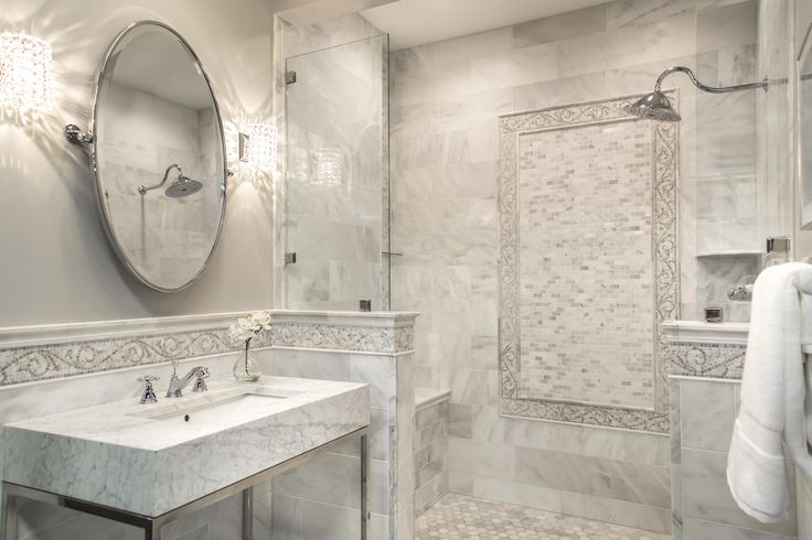 Our Hampton Carrara bathroom with mosaic border tile