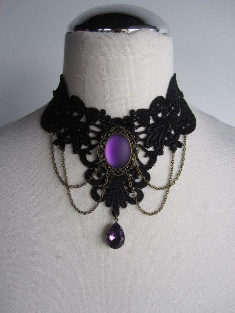 LAST ONE Choker Necklace Lace Purple Victorian Bohemian