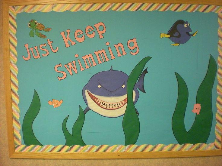 Finding Nemo bulletin board. Just keep swimming