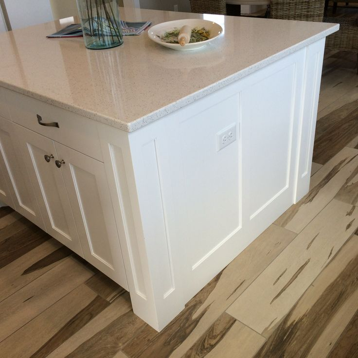 kitchen cabinets with legs modern faucets square shaker island semi flush end panels ...