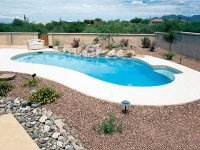 small swimming pool with xeriscape | Pools and hot tubs ...