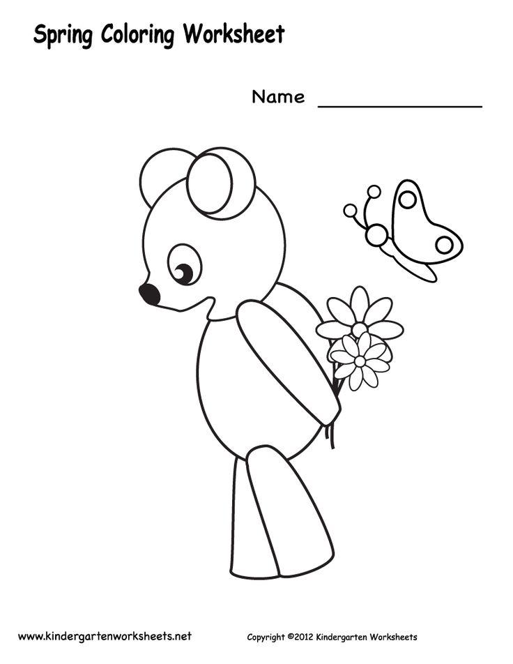 Kindergarten Spring Coloring Worksheet Printable