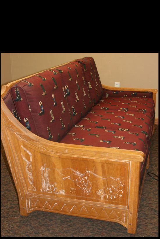 A BRANDT RANCH OAK CARVED COWBOY COUCH 1950 LIGHT OAK