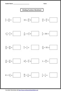 Dividing Fractions Worksheets | Student Teaching ...