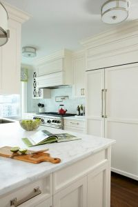 Off White Kitchen Cabinets with White Marble Countertops ...