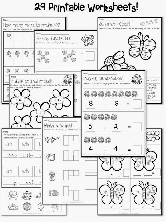 Spring Math and Literacy Centers with printable worksheets