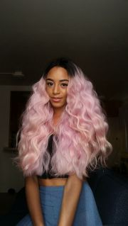 black girl with pink hair pastel
