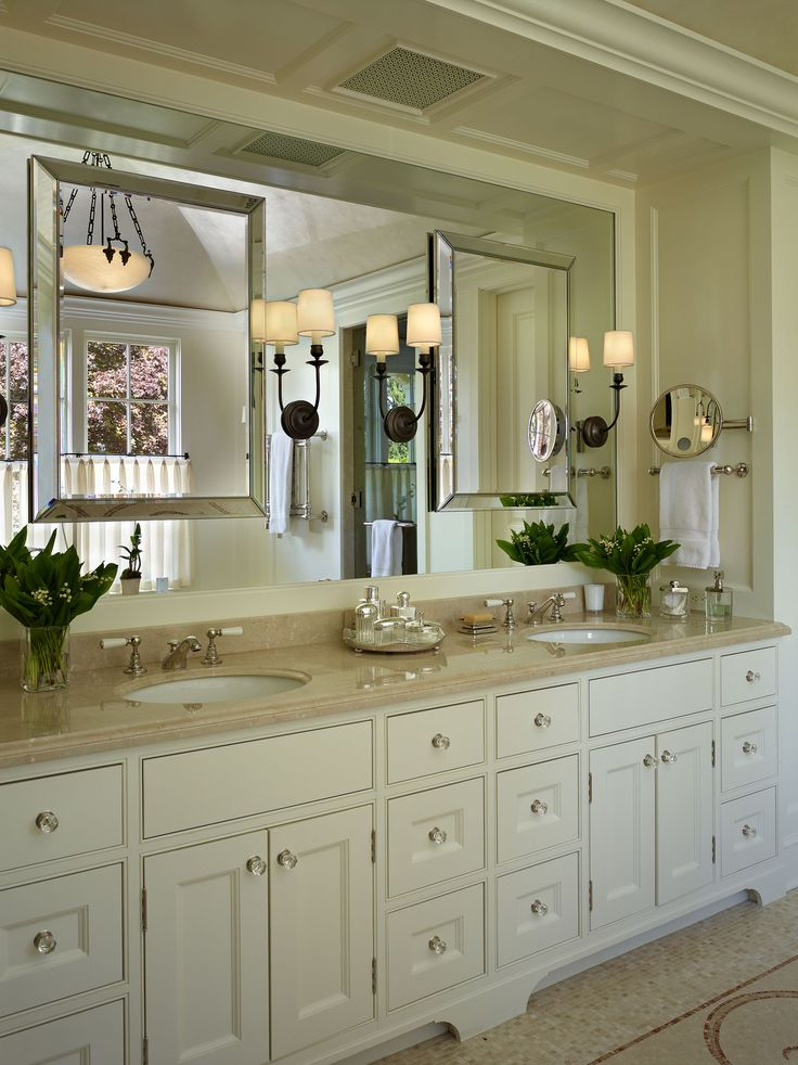 A Traditional master bath vanity designed by Stuart Silk