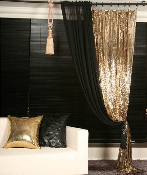 black and gold bedroom curtains Gold Sequins Beaded Curtain Drapery Panel Room Divider
