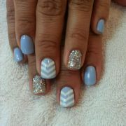 blue chevron nails with gold