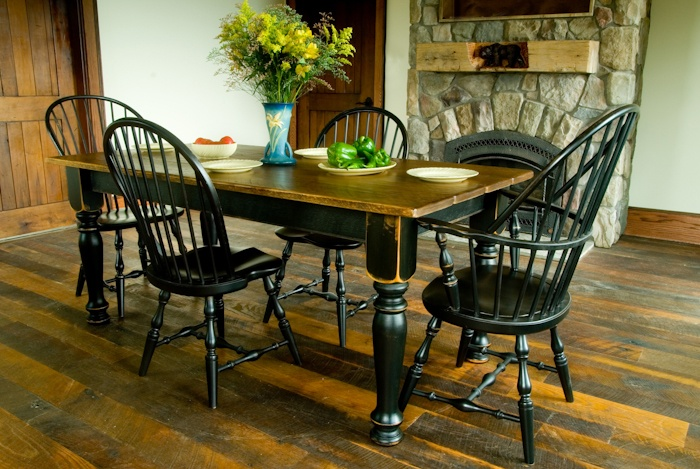 Pine farm table with black distressed base  Designs In Wood  Pinterest  The ojays Love this