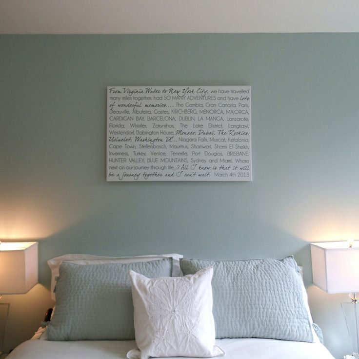 Soft Bedroom Colors and Custom Word Wall Art on Canvas