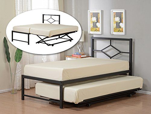 Black Metal Twin Size Day Bed Top Bed With Pop Up Trundle