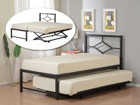 Black Metal Twin Size Day Bed (Top Bed with Pop Up Trundle ...