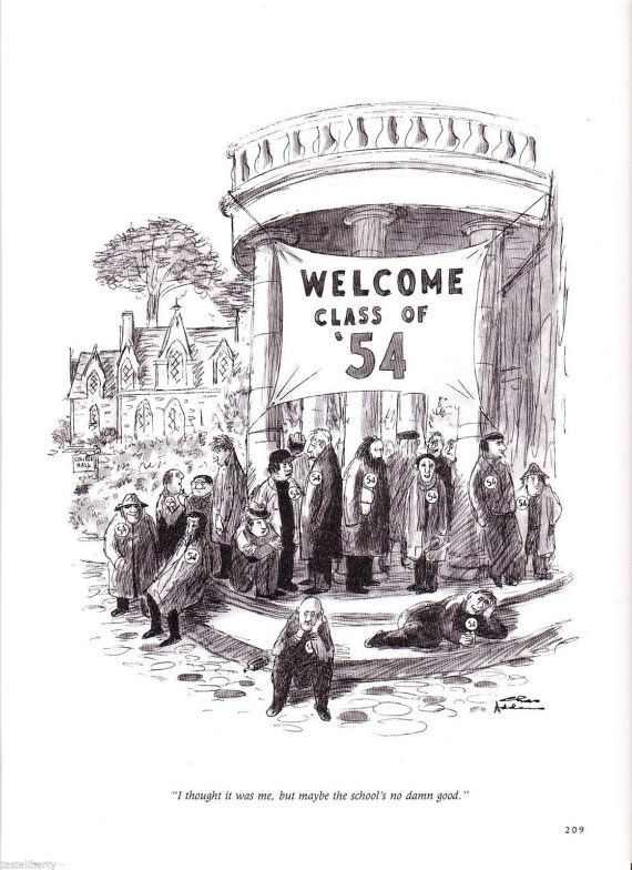 Vintage CARTOON Chas ADDAMS Class of 1954 Reunion by