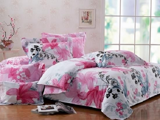 TWIN XL 100% COTTON Girls Teen DORM Pink Black Gray FLORAL