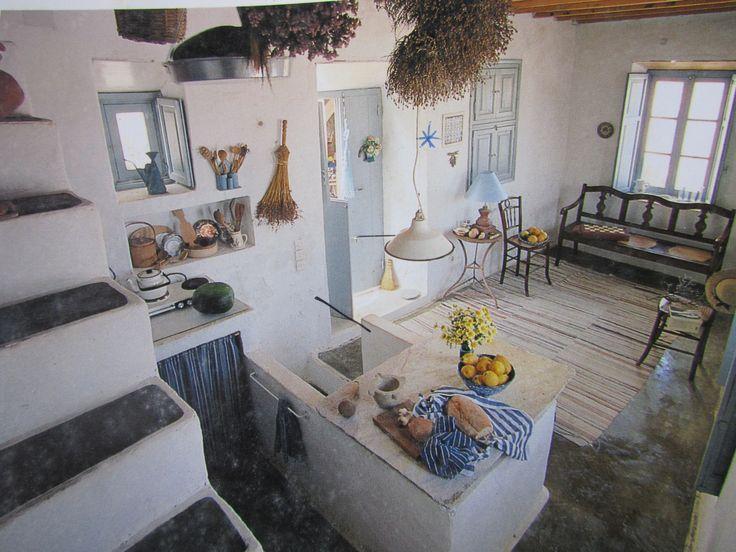 greek home 01  kitchen and living  Greek island decor