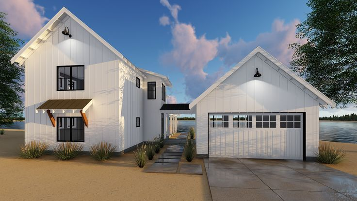 Plan 62650DJ Modern Farmhouse Plan with 2 Beds and Semidetached Garage  Modern farmhouse