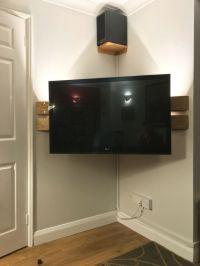 Wall mounted corner TV Stand. DIY. Left over floor boards ...