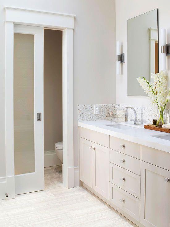 Master Bathroom Design Ideas  Towel storage Pocket doors