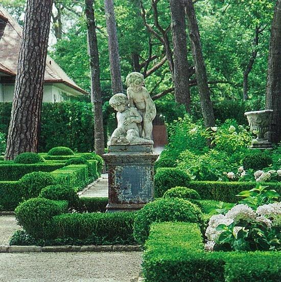 boxwood hedges limestone walkways
