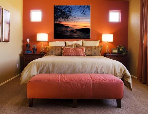 sunset orange for accent wall bedroom Dark orange accent wall in bedroom | Bedroom colors
