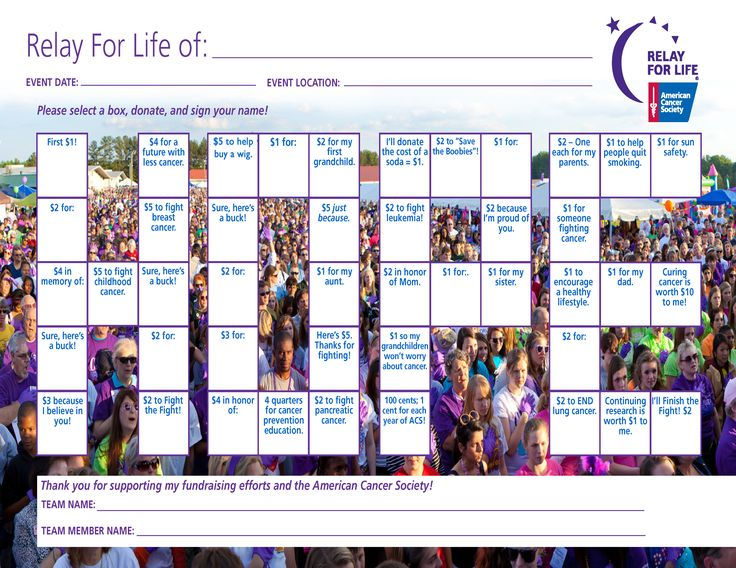 Easy Relay For Life Fundraiser – Hope Bingo Chart – fill it up, and you have your first $100!