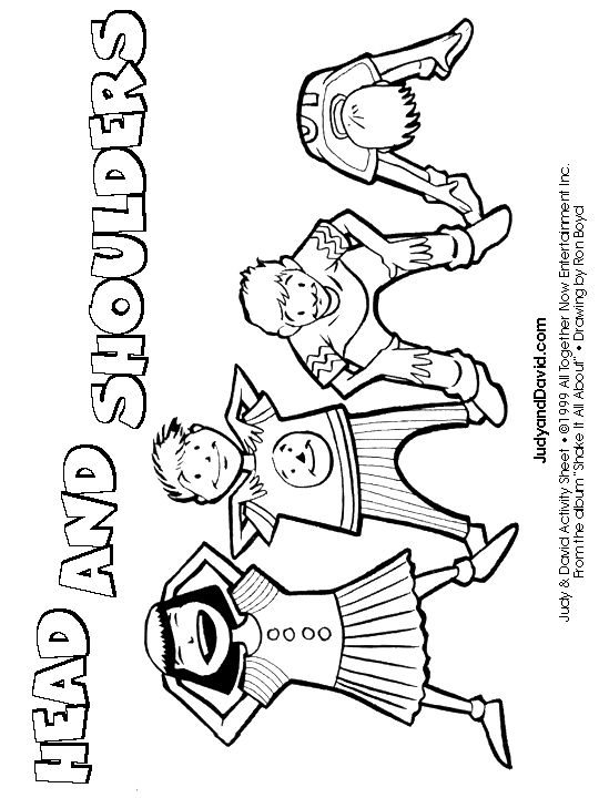 Colouring Page: Head, Shoulders, Knees and Toes headshou