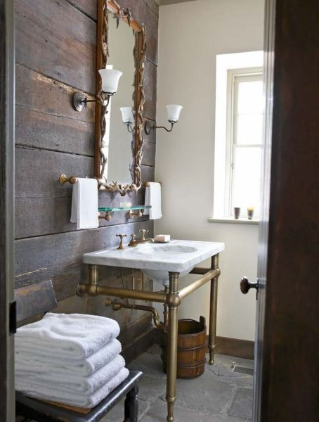elegant rustic bathroom mirrors Rustic and elegant bathroom G.P. Schafer Architect, PLLC | Interiors & Exteriors, Too