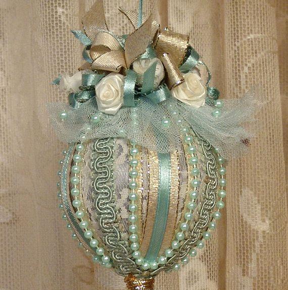 handmade victorian christmas ornament keepsake vin e style seafoam no