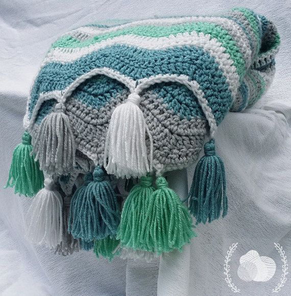 Classic Vintage Style Chevron in Aqua Teal Grey Antique White with Tassels Ocean Waves Chevron