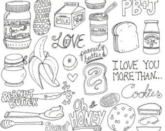 Peanut Butter & Jelly Digital Stamps, Whimsical Doodle