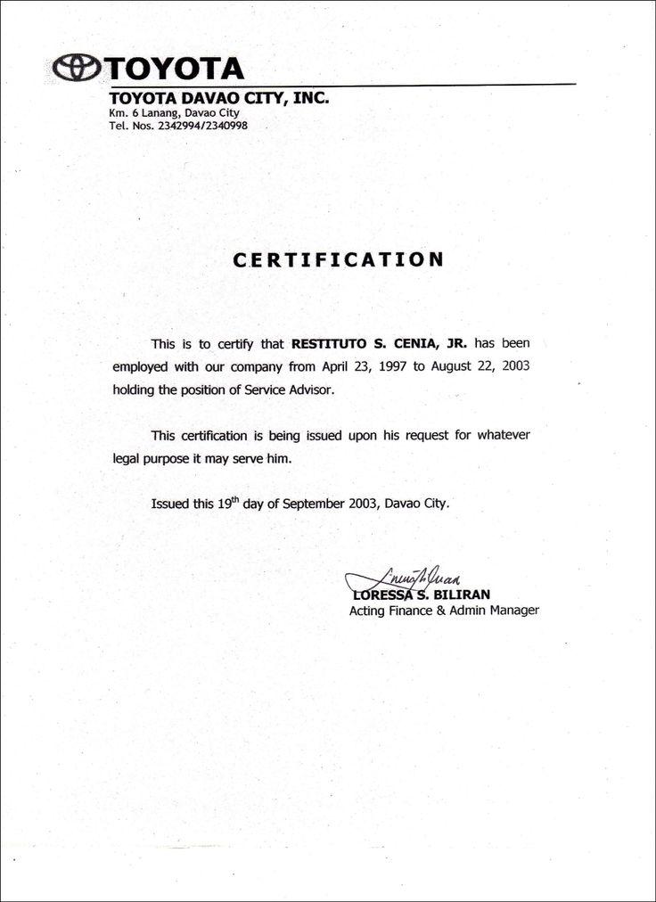 Employment Certificate Sample Best Templates Pinterest