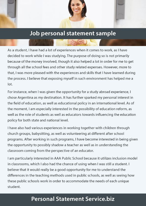 A Job Personal Statement Is Needed For A Candidate Who Is