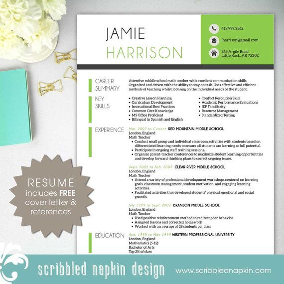 Teacher Resume Template Resume With Free Cover Letter