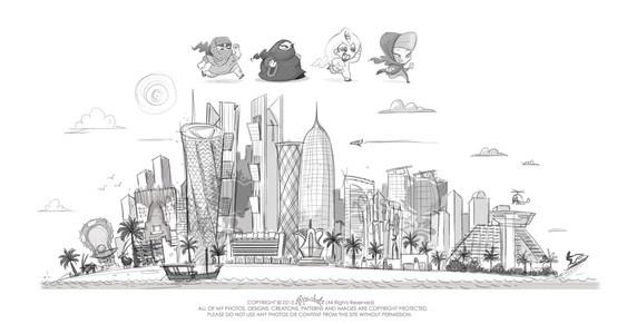 doha skyline art sketch qatar towers arab arabian middle