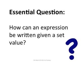 Essential questions, Common core math and 5th grades on