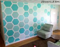 painted hexagon ombre wall treatment honeycomb accent wall ...