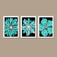 Turquoise Black Wall Art, CANVAS or Prints Bedroom Artwork ...