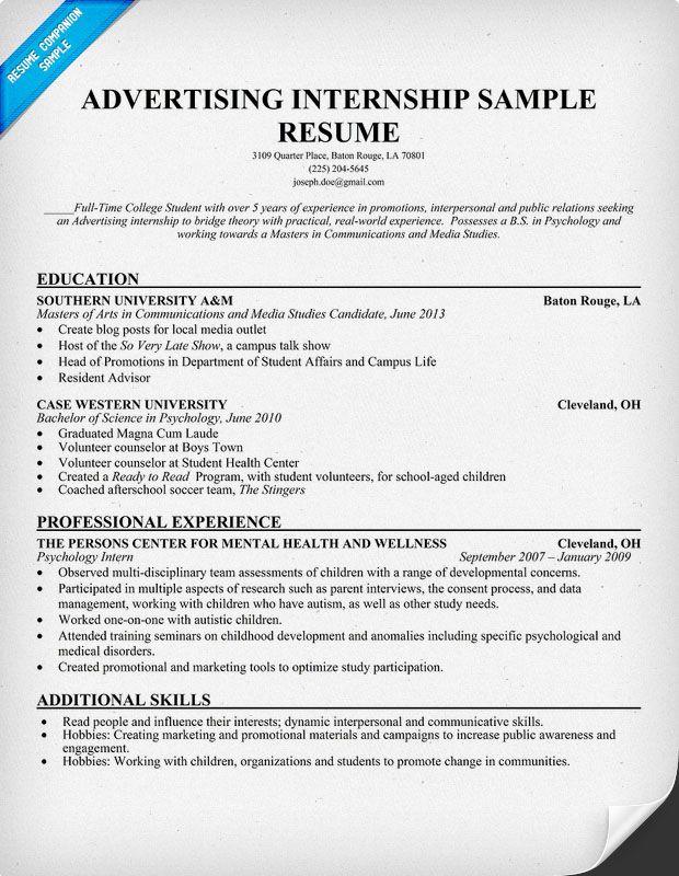 advertising internship resume template