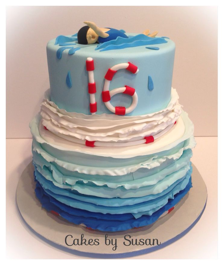 Swimming Themed Cake Childrens Cakes Pinterest Swim