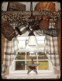 primitive pipberries decorations | Ladder hung above sink ...