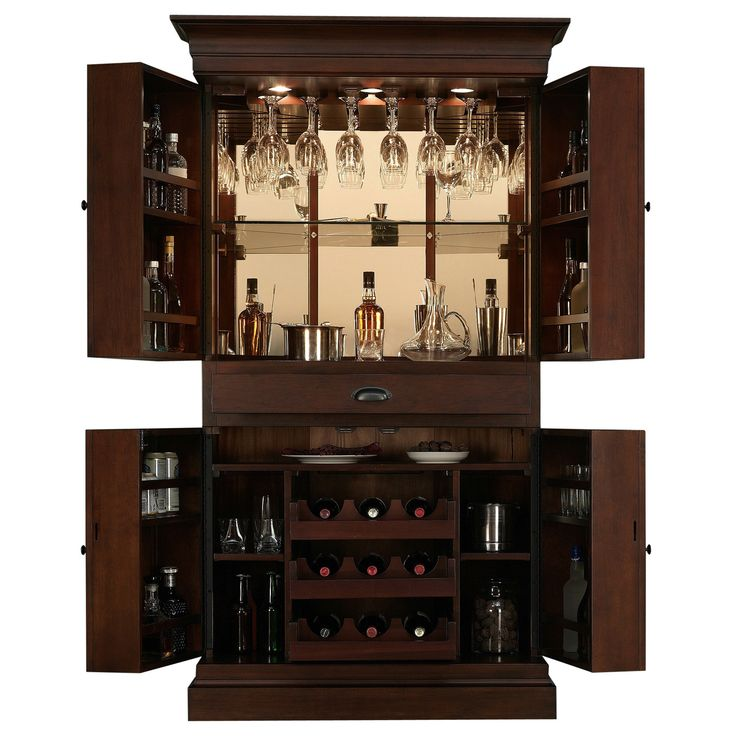 Arianna Brown Stain Home Bar Wine Cabinet