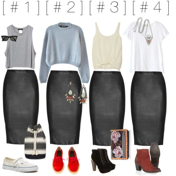 """[ leather pencil skirt ]"" by carlystafford-ceramics on Polyvore"