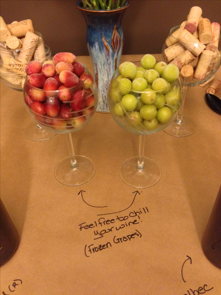Wine And Appetizer Potluck Frozen Grapes As Ice Cubes
