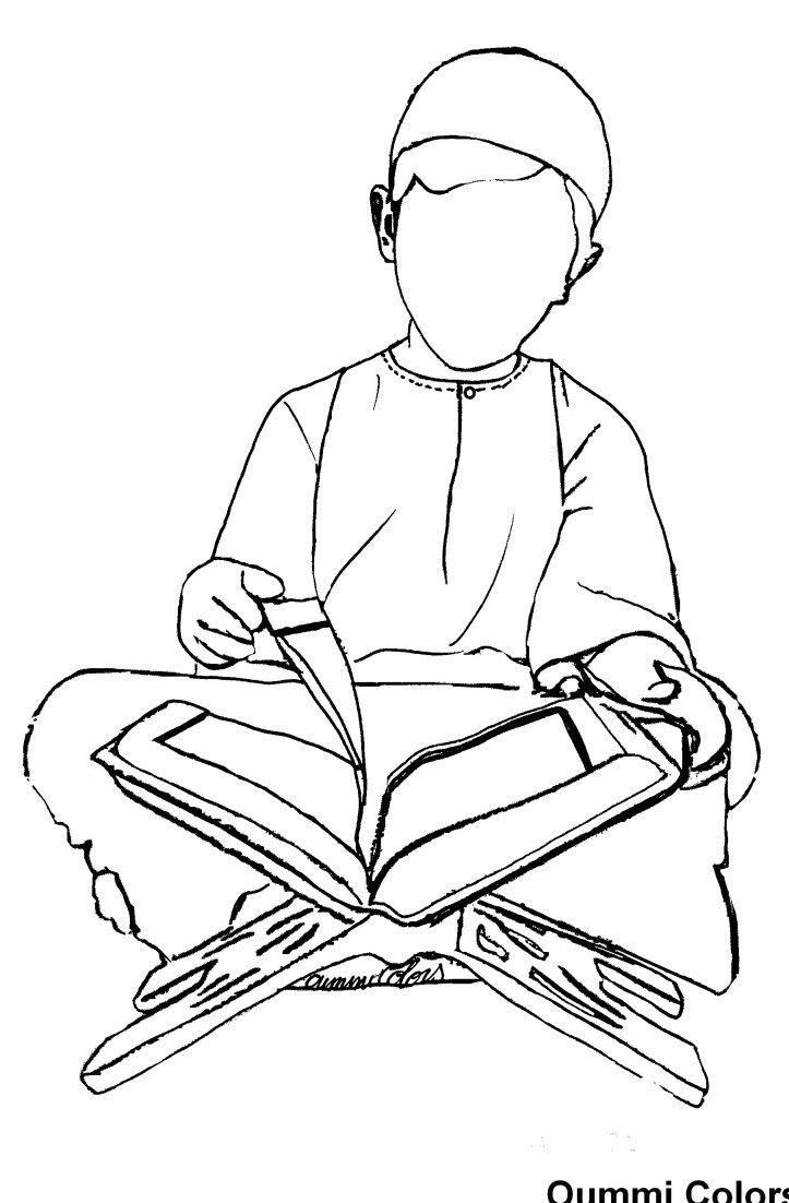 Coloriage:lecture du Coran par un petit garçon