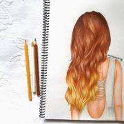 ombr hair girl drawing artsy