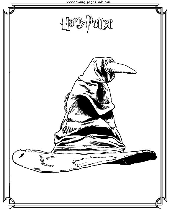 Sorting hat Harry Potter color page, cartoon characters