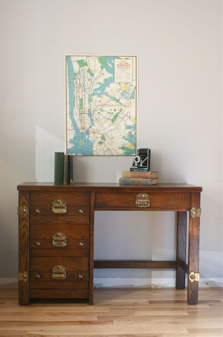 VIntage Nautical Desk with Brass Accents  Nautical desks and Vintage nautical